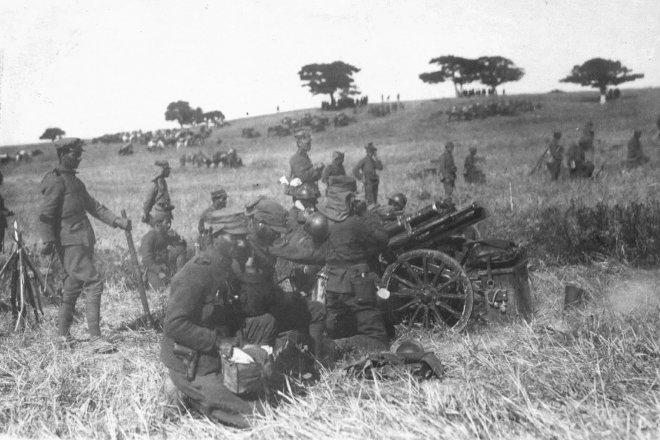 Ορειβατικό πυροβόλο Σνάιντερ-Ντυκρέτ ταγμένο για βολή στη μάχη του Τσαούς Τσιφλίκ.
